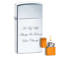 Slim Engraved Zippo Lighters