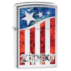 US Flag Polished Chrome Zippo Lighter - Zippo 29095