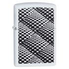 Dots and Boxes White Matte Zippo Lighter - Zippo 29416