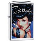 Bettie Page Blue Zippo Lighter in Brushed Chrome - Zippo 29584