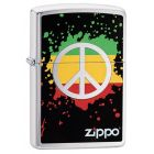 Zippo Peace Zippo Lighter in Brushed Chrome - Zippo 29606