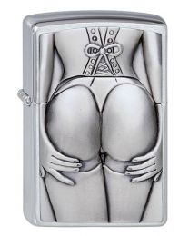 Stocking Girl Emblem Zippo Lighter in Brushed Chrome - Zippo 1300116
