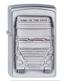 King of the Road Emblem Zippo Lighter in Brushed Chrome - Zippo 1300176