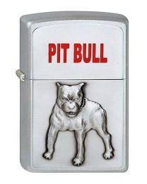 Pit Bull Emblem Zippo Lighter in Satin Chrome - Zippo 1320048