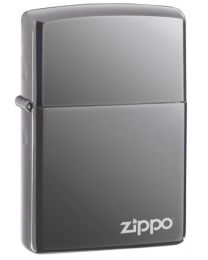 Black Ice Dark Chrome Zippo Lighter with Logo - Zippo 150ZL