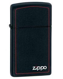 Slim Matte Black Zippo Lighter with Border - Zippo 1618ZB