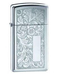 Slim High Polished Chrome Venetian Zippo Lighter - Zippo 1652