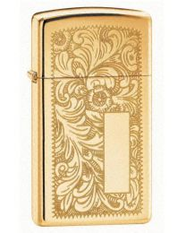Slim High Polished Brass Venetian Zippo Lighter - Zippo 1652B