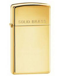 Plain Slim Zippo Lighter in Polished Brass - Zippo 1654