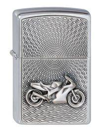 Motorbike Emblem Zippo Lighter in Brushed Chrome - Zippo 2000225