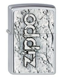 Zippo Stone Design Emblem Brushed Chrome Zippo Lighter - Zippo 2002738