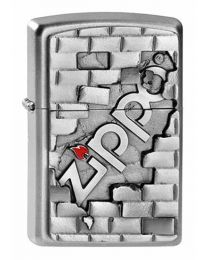 The Wall Emblem Satin Chrome Zippo Lighter - Zippo 2003963