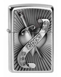 Heart with Sword Emblem Street Chrome Zippo Lighter - Zippo 2003969