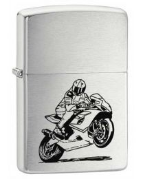 Motorbike Brushed Chrome Zippo Lighter - Zippo 200BIKE