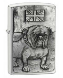 Bulldog Emblem Brushed Chrome Zippo Lighter - Zippo 200BULL