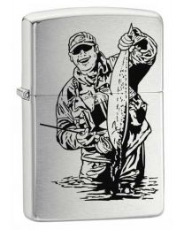 Fisherman Brushed Chrome Zippo Lighter - Zippo 200FISH3