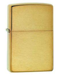 Plain Zippo Lighter in Brushed Brass & Solid Brass Lettering - Zippo 204