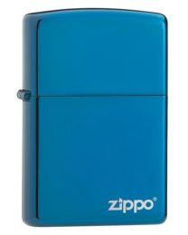 Plain Sapphire Blue Chrome Zippo Lighter with Logo - Zippo 20446ZL