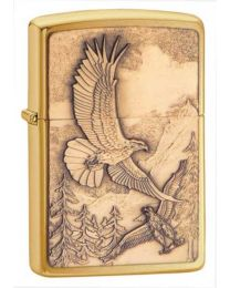 Where Eagles Dare Zippo Lighter in Brushed Brass - Zippo 20854