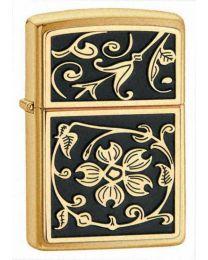 Gold Floral Flush Zippo Lighter in Brushed Brass - Zippo 20903