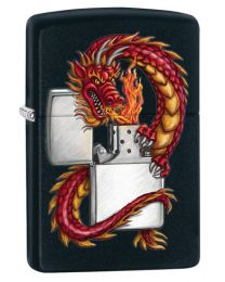 Dragon with Lighter Black Matte Zippo Lighter - Zippo 218DRAG