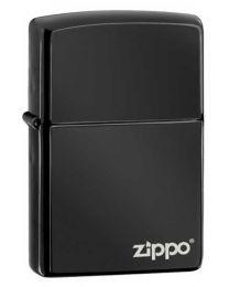 Plain Zippo Lighter in Ebony Black with Logo - Zippo 24756ZL