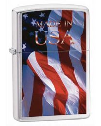 Made in USA Zippo Lighter in Brushed Chrome - Zippo 24797