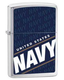US Navy Zippo Lighter in Brushed Chrome - Zippo 24813