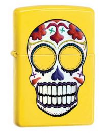 Zippo Day of The Dead Skull Lighter in Lemon Yellow - Zippo 24894