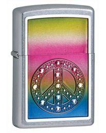 Peace for All Emblem Zippo Lighter in Satin Chrome - Zippo 24898