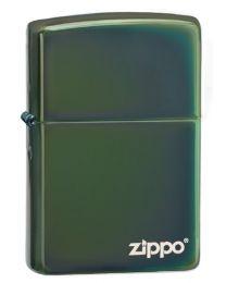 Plain Zippo Lighter in Chameleon (Green Chrome) with logo - Zippo 28129ZL