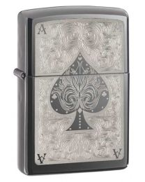 Ace Filigree Zippo Lighter in Dark Chrome Black Ice - Zippo 28323