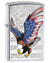 Eagle Flag Zippo Lighter in Polished Chrome - Zippo 28449