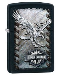 Harley Davidson Iron Eagle Zippo Lighter in Black Matte - Zippo 28485