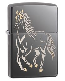 Running Horse Zippo Lighter in Dark Chrome Black Ice - Zippo 28645