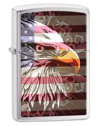 Eagle Flag Brushed Chrome Zippo Lighter - Zippo 28652