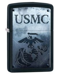 US Marines USMC Black Matte Zippo Lighter - Zippo 28744