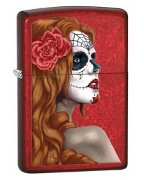 Day of the Dead Candy Apple Red Zippo Lighter - Zippo 28830
