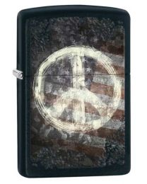 Peace on Flag Black Matte Zippo Lighter - Zippo 28864