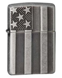 US Flag Armor Zippo Lighter in Antique Silver Plate - Zippo 28974