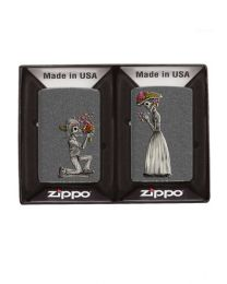 2 Lighter Set - Day of The Dead Iron Stone Zippo Lighters - Zippo 28987