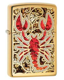 Scorpion Shell Polished Brass Zippo Lighter - Zippo 29096