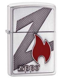 Z Flame Brushed Chrome Zippo Lighter - Zippo 29104