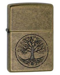 Tree Of Life Antique Brass Zippo Lighter - Zippo 29149