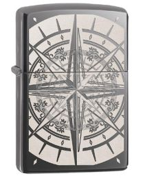 Compass Zippo Lighter in Black Ice Dark Chrome - Zippo 29232