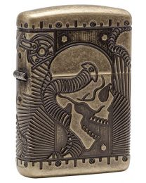 Armor SteamPunk Skull Antique Brass Zippo Lighter - Zippo 29268