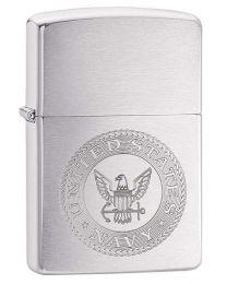 Brushed Chrome US Navy Crest Zippo Lighter - Zippo 29385
