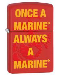 Always A Marine Red Matte Zippo Lighter - Zippo 29387