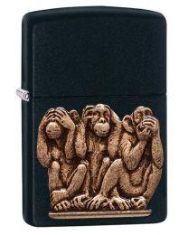 3 Monkeys Zippo Lighter Emblem in Black Matte - Zippo 29409