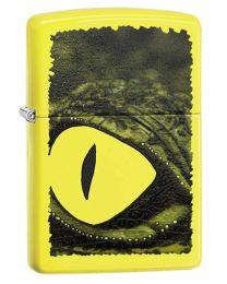 Zippo Alligator Green Eye Neon Yellow Zippo Lighter - Zippo 29414